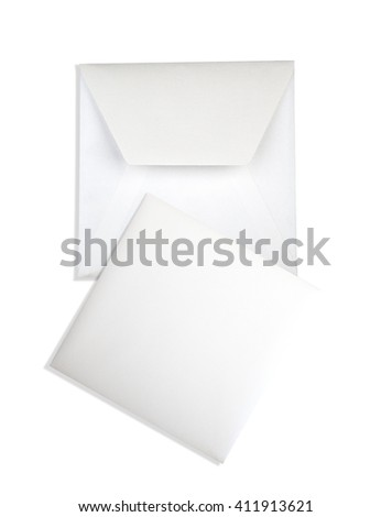 White card and envelope on white background