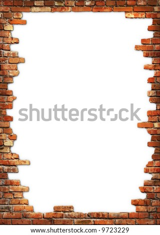 White card background with brick wall framing - stock photo