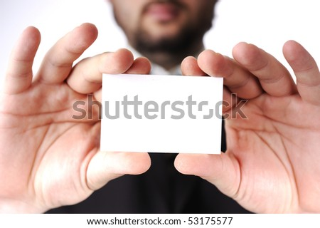 white card banner in man's hands