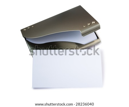 White card on metallic business card holders - stock photo
