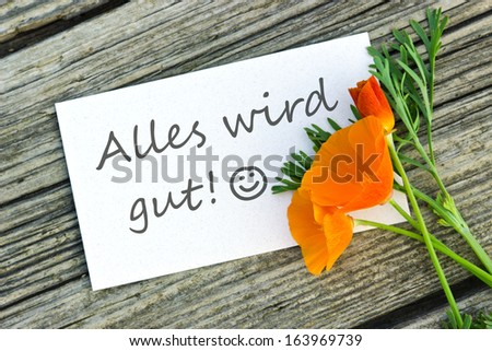 White card with orange flower/everything is going to be alright/german