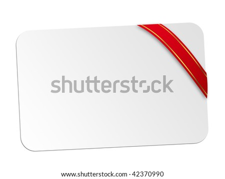 White card with red ribbon. Space to insert text or design. Christmas holiday
