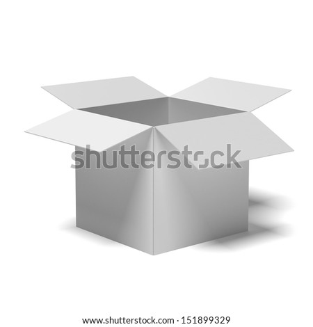 white cardboard box - stock photo