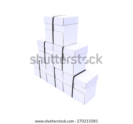 White cardboard box isolated on a White background - stock photo