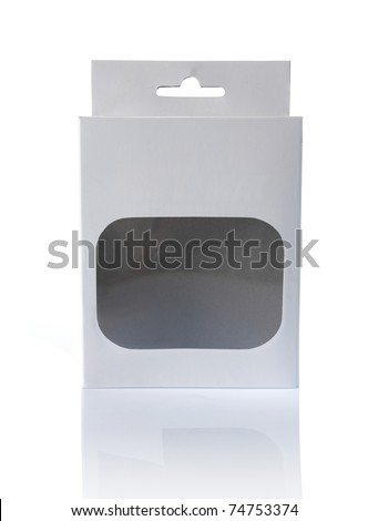 white cardboard box with a transparent plastic window. ready for your design - stock photo