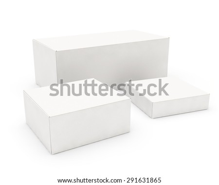 white cardboard boxes of the different sizes - stock photo