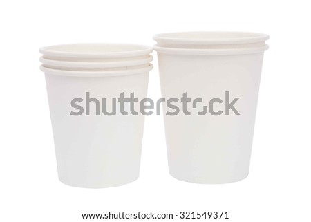 White cardboard cups for hot drinks