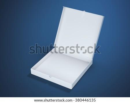 White cardboard package in blue studio - stock photo