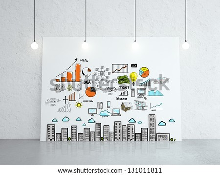 white cardboard with business concept on wall - stock photo