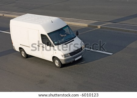 white cargo blank Shuttle Bus. See many similar quality images in my portfolio - stock photo