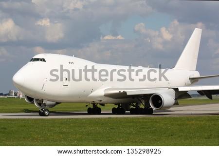 White cargo plane - stock photo