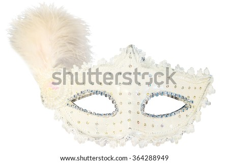 White carnival mask decorations isolated background front view feather - stock photo