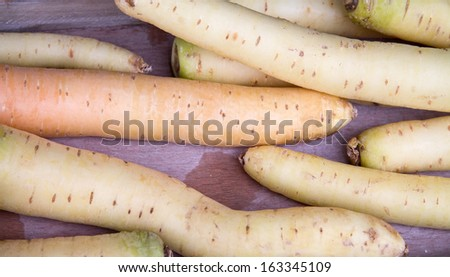 White carrots on a table - stock photo
