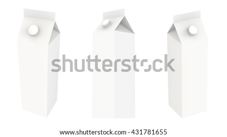 White carton package template for juice or dairy product 3d illustration set Mock Up Template Ready For Your Design