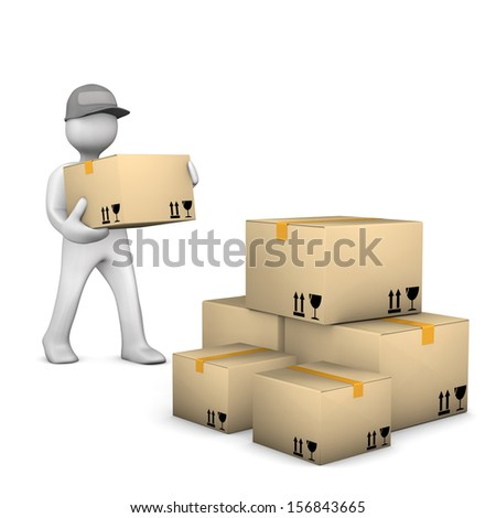 White cartoon characer with parcels. White background. - stock photo
