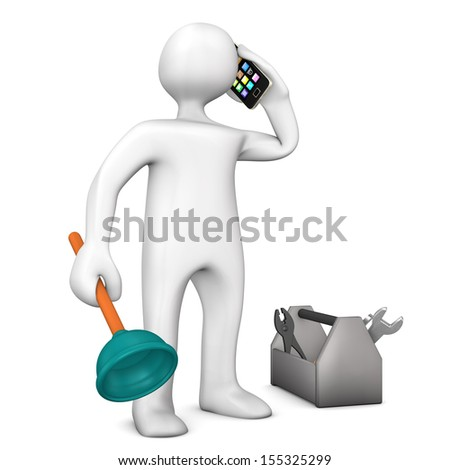 White cartoon character as plumber with smartphone and toolbox. - stock photo