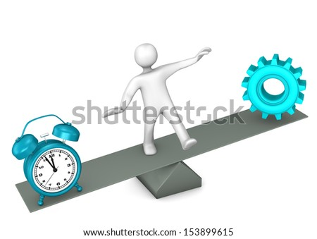 White cartoon character between time and precision. - stock photo