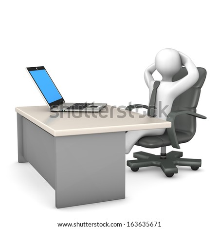White cartoon character in the office and make break. - stock photo
