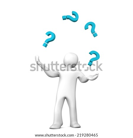 White cartoon character juggles with blue question marks. White background. - stock photo