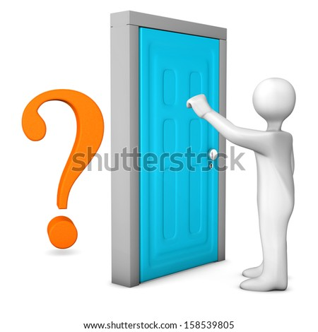 White cartoon character knocks on the frontdoor.Behind the frontdoor is a orange question mark. - stock photo