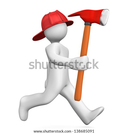 White cartoon character runs with axe. White background.