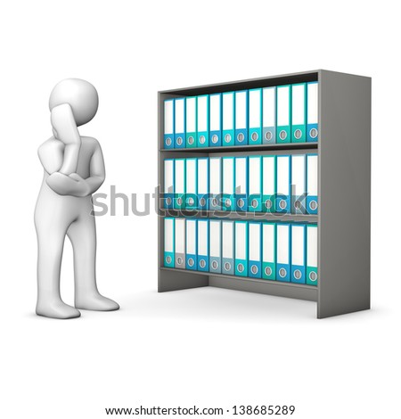 White cartoon character searches in a file cabinet and cogitates. White background. - stock photo