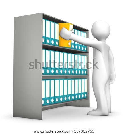 White cartoon character springs a folder. White background. - stock photo