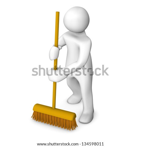 White cartoon character with a broom on the white background. - stock photo