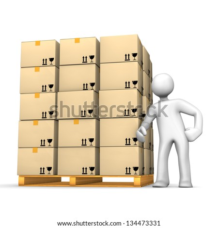 White cartoon character with a pallet on the white background. - stock photo