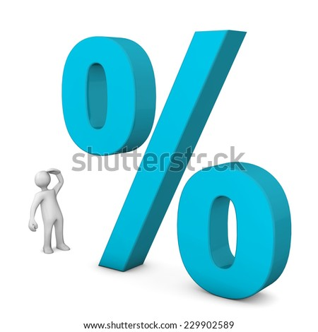 White cartoon character with big percent on the white background. - stock photo