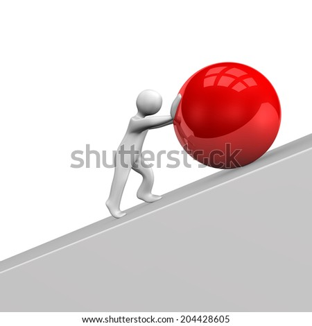 White cartoon character with big red sphere. - stock photo