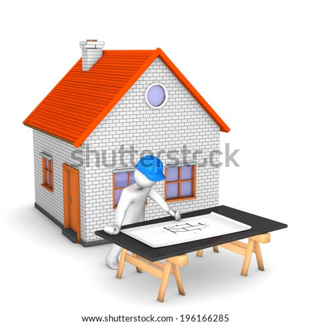 White cartoon character with blue helmet, house and construction plan. White background. - stock photo