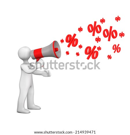 White cartoon character with bullhorn and symbols of percent.