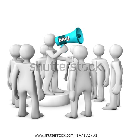 White cartoon character with bullhorn on the white background. - stock photo