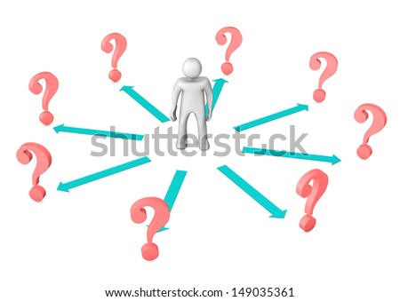 White cartoon character with cyan arrows and red question marks. - stock photo