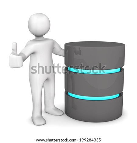 White cartoon character with database and OK-symbol. - stock photo