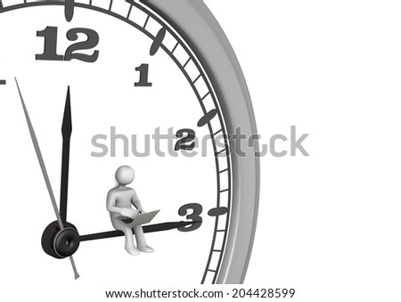 White cartoon character with laptop and big wall clock - stock photo