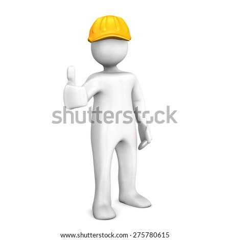 White cartoon character with orange helmet on the white background.