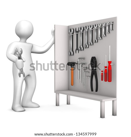White cartoon character with tool cabinet.