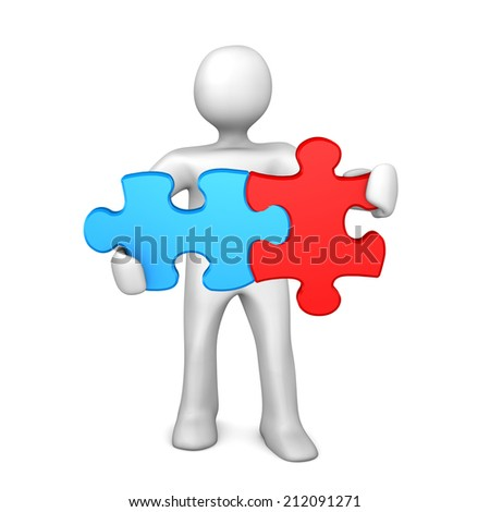 White cartoon character with two puzzlepieces. White background.