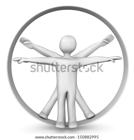 White cartoon characters in the circle. White background. - stock photo