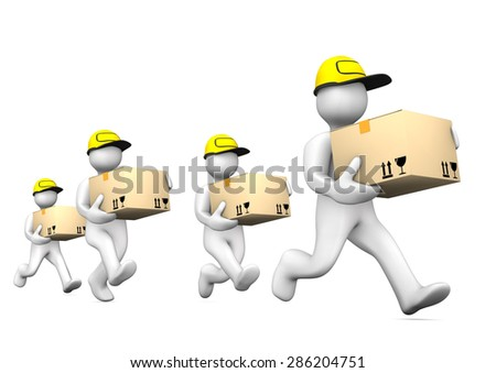 White cartoon characters running with packets on the white. - stock photo