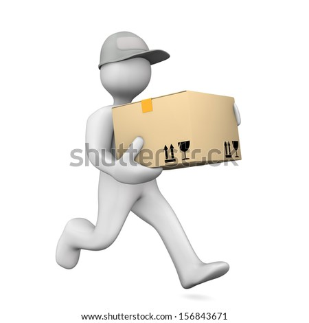White cartoon characters runs with big parcel. White background. - stock photo