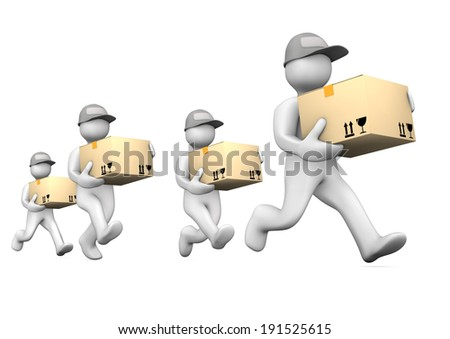 White cartoon characters runs with big parcels. White background. - stock photo