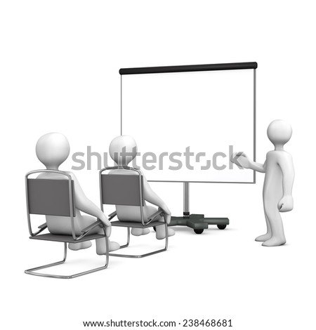 White cartoon characters sit in on a lecture. White background.
