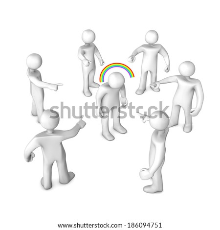 White cartoon characters slander. White background. - stock photo