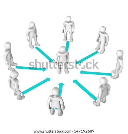White cartoon characters with cyan arrows. White background. - stock photo