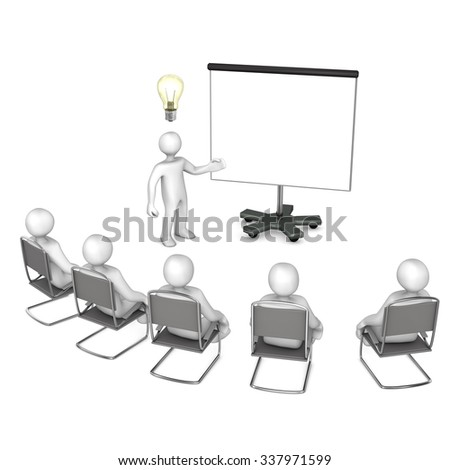 White cartoon characters with flipchart and bulb on the white. 3d illustration.  - stock photo