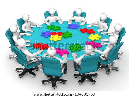 White cartoon characters with puzzles on table. - stock photo