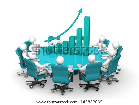 White cartoon characters with round table and green chart. - stock photo